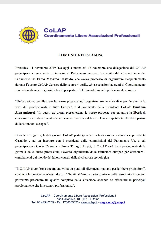 Comunicato stampa CoLAP